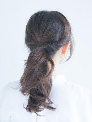 大人の前髪なし一つ結びに 30代 40代に似合うヘアアレンジ ヘアスタイリング ヘアスタイル ロング ロングヘア