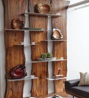 Wall Shelf Made Of Suarina Root Wood Natural Finish Aluminum Shelves In 2020 Wooden Wall Shelves Wood Pallets Decor