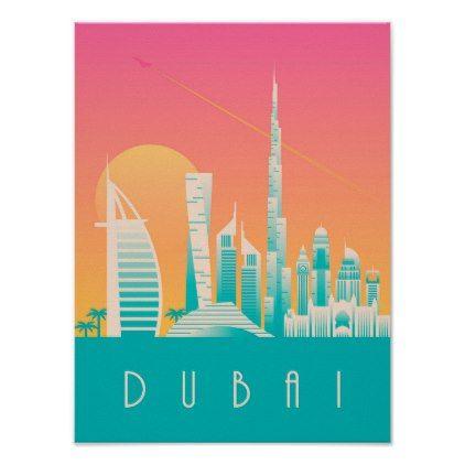 Art Deco Travel Posters Lovely Vintage Retro Holiday  Dubai UA Emirates
