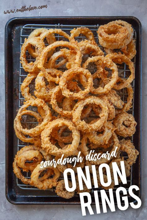 Onion Rings coated with sourdough discard.used panko and air fried. Cut in thicker slices or onion shrivels up Sourdough Starter Discard Recipe, Sourdough Recipes, Sourdough Bread, Onion Rings Fried, Roasted Potato Wedges, Onion Rings Recipe, Baked Onions, The Best, Cooking Recipes
