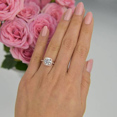 2.25 ctw Classic Square Halo Engagement Ring, Wedding Ring, Man Made Diamond Simulant, Half Eternity Band, Sterling Silver, Rose Gold Plated