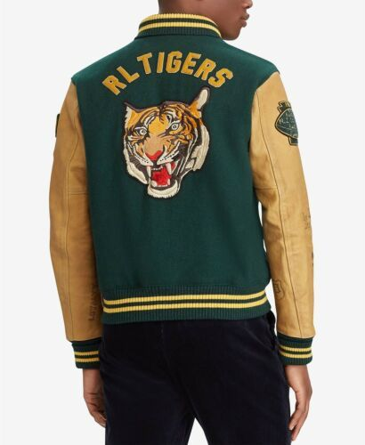Polo Ralph Lauren Men Tigers Patch NYC 67 Varsity Letterman Sweater Sweatshirts