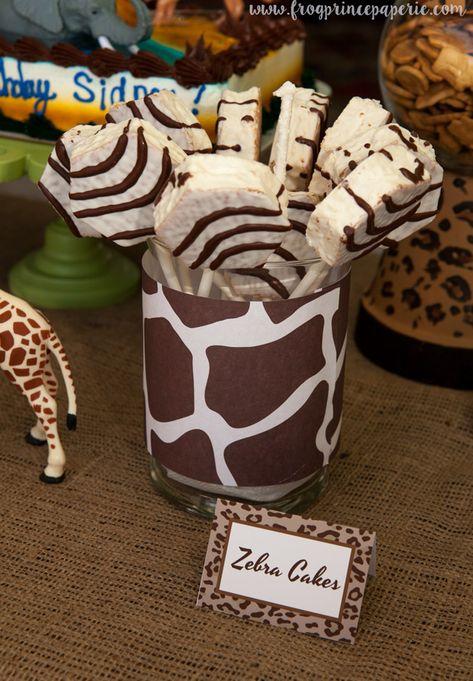 Jungle Safari Birthday Party Ideas - Frog Prince Paperie Zebra cakes - a safari birthday party