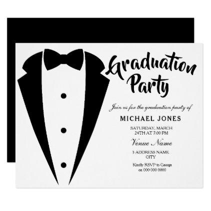 Suit Tie Boys Mens Graduation Party Invite Zazzle Com