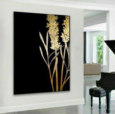 xxl leinwand bild bis 135x100x5 pflanzen natur schwarz gelb gold gemalde modern ebay home decor decals ikea wall art leinwanddruck günstig lange