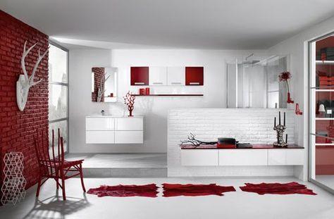 Salle de bains rouge et blanc | Salle de Bains ROUGE | Pinterest ...