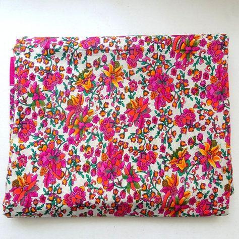 SALE Pink floral  fabric Indian cotton dress fabric  DIY