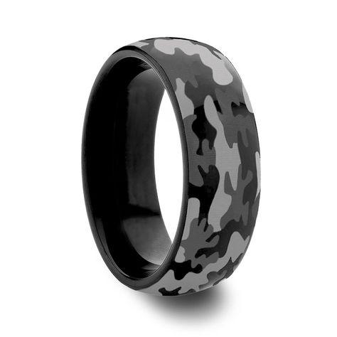 Amazon.com: Spyder Round Domed Style Black Tungsten Carbide Camo Wedding Rings (8mm): Jewelry