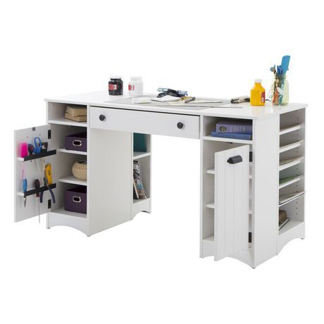 South Shore Artwork Craft Table With Storage Pure White Walmart Canada Craft Tables With Storage Craft Table Desk Storage