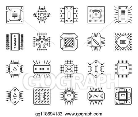 vector stock micro chip cpu simple black line icons vector set clipart illustration gg118694183 gograph in 2020 line icon icon set icon pinterest