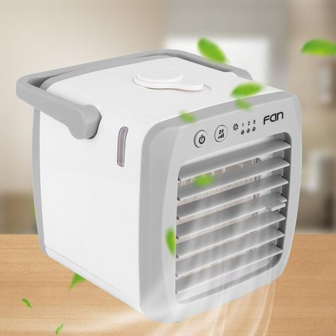 Decdeal Portable Air Conditioner Cooler Fan for Indoor Home Office Dorms with LED Light Home Office USB Mini Fan Personal Space Cooler Negative Ion Desktop Cooling Fan