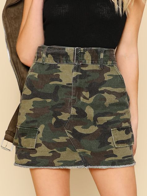 Shop Distressed Hem Camo Skirt with Belt online. SHEIN offers Distressed Hem Camo Skirt with Belt & more to fit your fashionable needs.