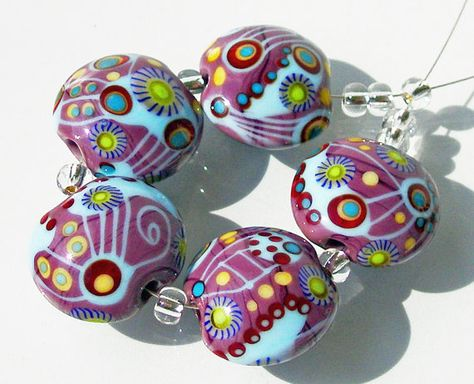 Lampwork Glass Bead Lentil Set SRA -Deep Purple-