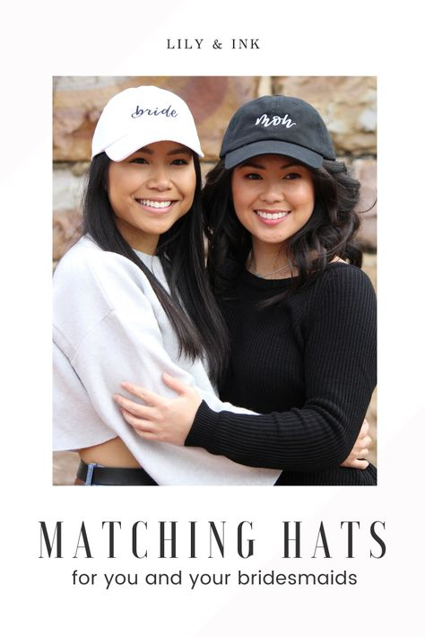 Find matching bridal party hats for you, your Maid of Honor and your bridesmaids! These are perfect as gifts that can be given either during your Bachelorette party or on the day of your wedding! Find these gifts and more in my shop! #matchinghats #bacheloretteparty #weddingpartygifts #bridesmaidhats