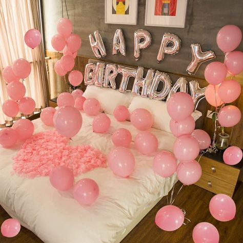 Pink Happy Birthday Decoration w/ pink Balloons  | Pink Birthday Party Decorations Balloon | Pink Themed Birthday Party