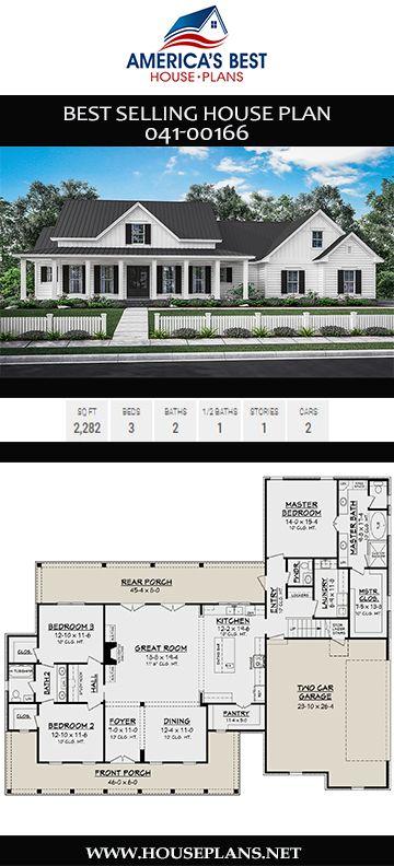 House Plan 041 00166 Farmhouse Plan 2 282 Square Feet 3 Bedrooms 2 5 Bathrooms House Plans Farmhouse Farmhouse Layout Farmhouse Plans
