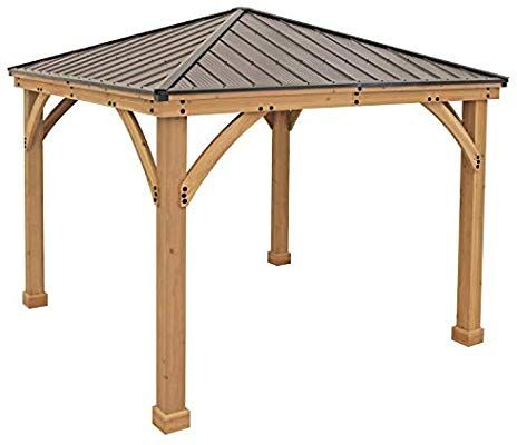 Amazon Com Yardistry 10 X 10 Wood Gazebo With Aluminum Roof Garden Outdoor Gazebo Carport Designs Pergola Carport