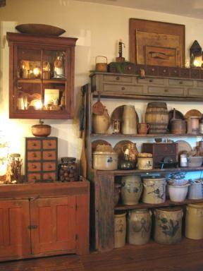 Great primitive look Antique Crocks, Old Crocks, Antique Stoneware, Stoneware Crocks, Prim Decor, Country Decor, Rustic Decor, Primitive Decor, Primitive Antiques