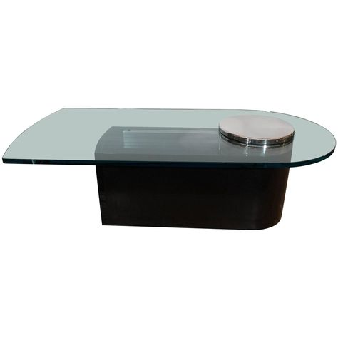 Dakota Jackson Glass Top Coffee Table With Chrome Detail On Black - Chrome base glass top coffee table
