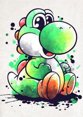Cute Dinosaur Watercolor Cute Poster Print Metal Posters Displate Yoshi Drawing Super Mario Art Mario Art