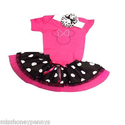 PINK WHITE POLK DOT TUTU RHINESTONE BABY GROW MINI MOUSE TUTU 80S FANCY DRESS