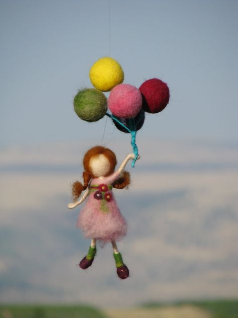 Needle felted waldorf inspired mobile Let's have by Made4uByMagic