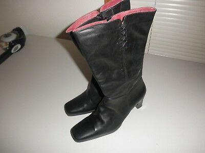 Elle Tall Leather Ladies Black Boots