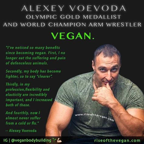 """Alexey Voevoda (Алексей Иванович Воевода) is a Russian athlete who has not only won gold at the Arm Wrestling World Championships but also secured two gold medals at the last winter Olympics in the Bobsleigh event whilst following a strict vegan diet predominantly based around raw foods. His triumph over legendary arm-wrestler John Brzenk was immortalized in the feature length documentary """"Pulling John"""". He's on Instagram at @alexeyvoevoda .  Alexey says: """"Ive noticed so many benefits since…"""