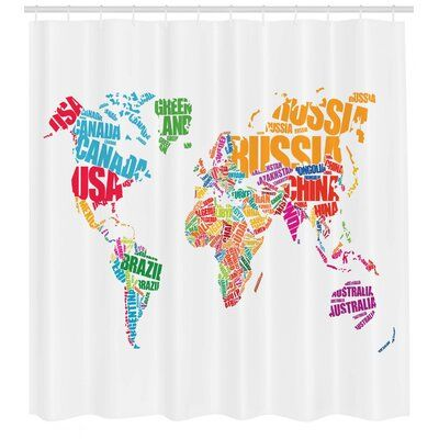 East Urban Home Ambesonne World Map Shower Curtain World Map With