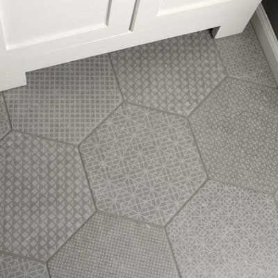 Elitetile Lunastone Hexagon 10 X 12 Porcelain Patterned Wall Floor Tile Wayfair Bathroom Floor Tiles Bathroom Flooring Flooring