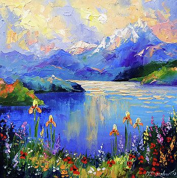 Flowers At The Mountain Lake Oil Painting Nature Lake Painting Mountain Painting Acrylic