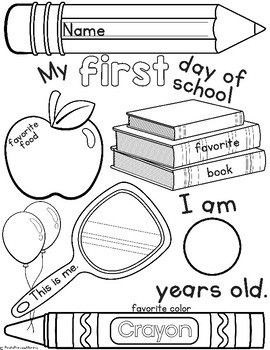 First Day Of School Activity Page First Day Of School Activities