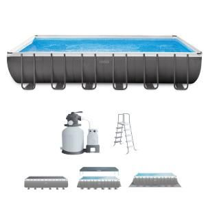 Intex 24 Ft X 12 Ft X 52 In Rectangular Ultra Xtr Frame Swimming Pool With Sand Filter 26363eh The Home Depot Rectangular Pool Rectangle Pool Swimming Pools