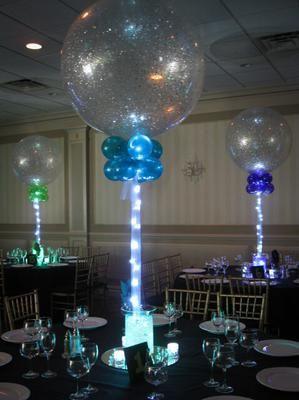 21st Birthday Party Balloon Centerpieces Light Up Balloons Mitzvah Centerpieces