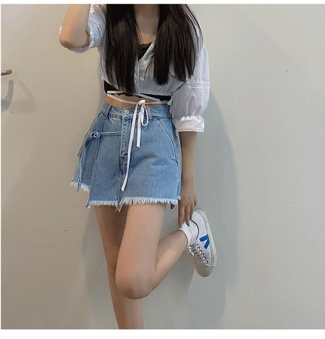 KOREAN STYLE VINTAGE DENIM SHORTS SKIRT