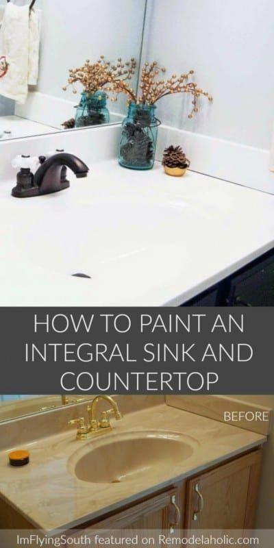 Budget Friendly Bathroom Update Painted Sink And Countertop Bathroommakeover Countertop Makeover Diy Countertops Painted Vanity Bathroom