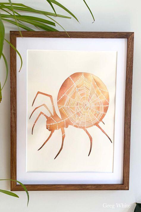The original watercolor painting of the Justice card from the WilderWoven Tarot. #spiderweb #spiders #arachnids #framedart #homedecor #sunset #sunrise #tarotcards #tarotdeck #originalart