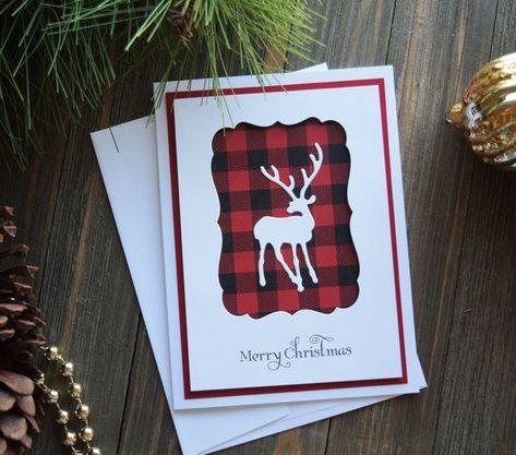 Diy christmas cards 155303887211996061 - Buffalo Plaid Christmas Cards for Deer Hunter's Stamped Christmas Cards, Beautiful Christmas Cards, Homemade Christmas Cards, Christmas Cards To Make, Plaid Christmas, Handmade Christmas, Homemade Cards, Xmas Cards Handmade, Cricut Christmas Cards