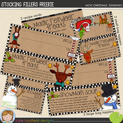 Free printable toppers for bags of Snowman Soup and Magic Reindeer Treats...cute versions without text for your own recipes too!