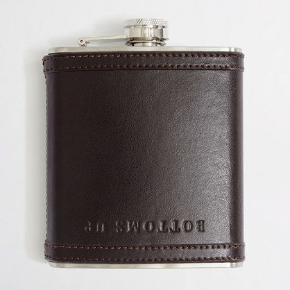 Factory leather bottoms-up flask from J. Crew