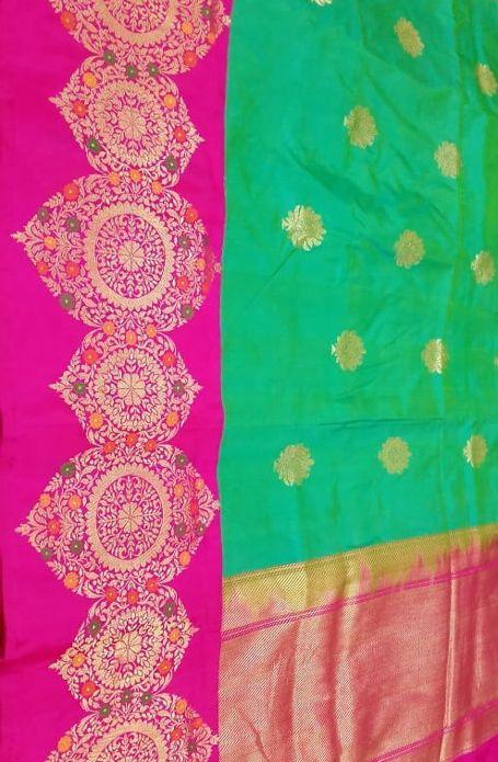 7929c2b455 Green Handloom Banarasi Katan Silk Saree ...