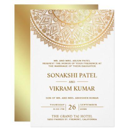 Traditional White Gold Mandala Indian Wedding Invitation Zazzle Com In 2021 Indian Wedding Invitations Indian Wedding Invitation Cards Indian Wedding Cards