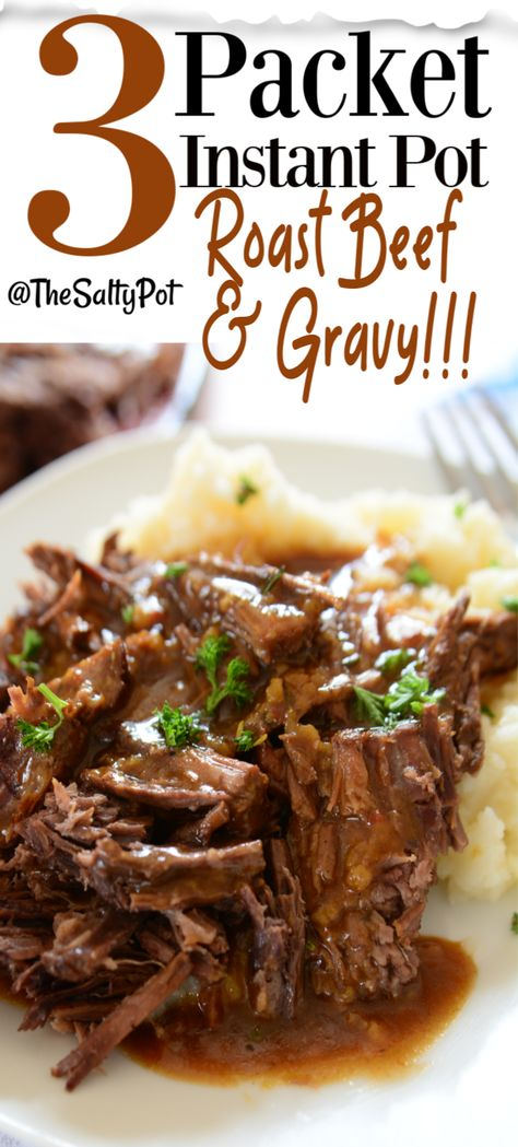 If you've ever wanted the most succulent and tender beef roast with the richest gravy EVERRR, then you have to try this recipe! Incredibly easy to make in the instant pot, this beef pot roast will be on constant rotation in your weekly meals! Roast Recipe Easy, Easy Pot Roast, Beef Pot Roast, Roast Beef Recipes, Pot Roast Sauce Recipe, Pressure Cooker Roast Beef, Roast Beef Gravy, Beef Gravy Recipe, Pressure Cooking