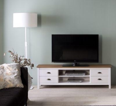 Meuble Tv Campagne Maya Bois Massif Blanc Meuble Tv Meuble Mobilier De Salon
