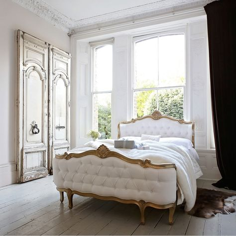 Champagne Gold Shell Bed Eclectic Bedroom Bed Design French Bed