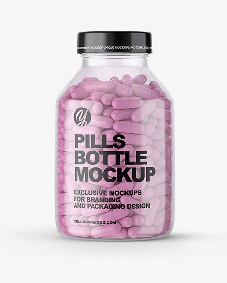 Clear Pills Bottle Mockup In Bottle Mockups On Yellow Images Object Mockups Bottle Mockup Pill Bottles Pills