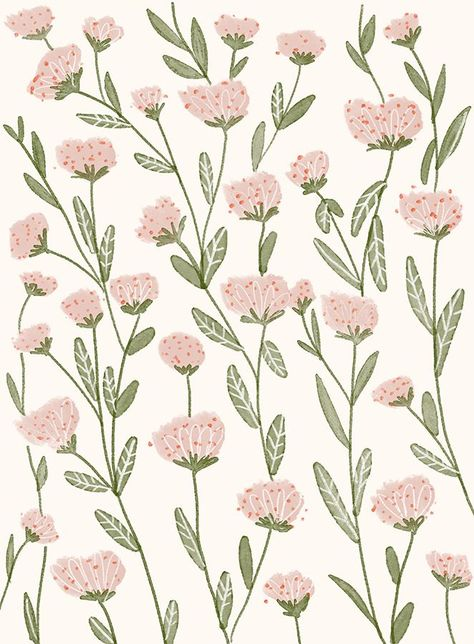 Pastel pink blooms pattern by Chotnelle. Pretty, flower pattern design ideas, ​and inspiration. Love this soft, floral print.