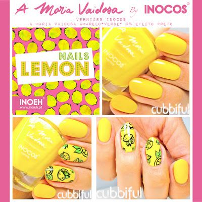 Lemon Nail Art with A Maria Vaidosa by Inocos (cubbiful)