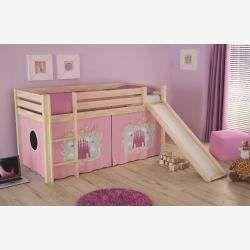 Halbhochbett Pino Castle Kiefer Massivholz Mit Rutsche Und Textilset 90x200 Cm Roller In 2020 Bedroom Storage High Beds Toddler Bed