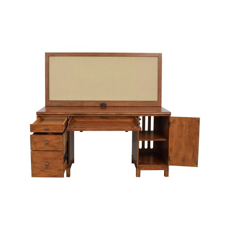 Ethan Allen Hawke Double Pedestal Desk With Bulletin Board